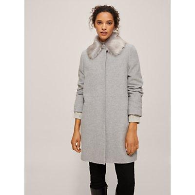 John Lewis & Partners Jenny Detachable Faux Fur Collar A-Line Coat