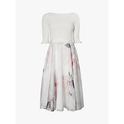 Ted Baker Iline Floral Print Flared Dress, Ivory