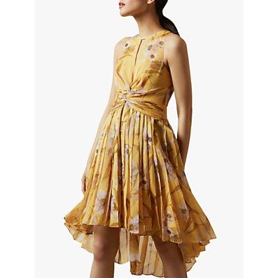 Ted Baker Fabulas Cabana Pleated Midi Dress, Yellow