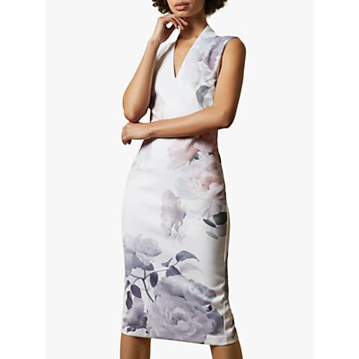Ted Baker Marah Bodycon Floral Dress, Ivory/Multi