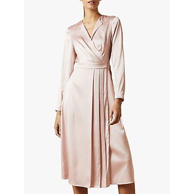 Ted Baker Neenha Pleat Detail Satin Midi Dress, Nude