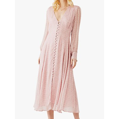 Ghost Adorlee Stamp Ditsy Print Midi Dress, Pink