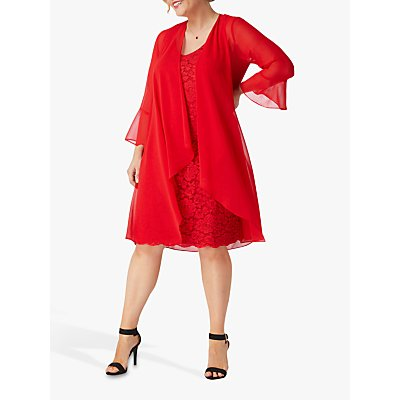 Live Unlimited Curve Chiffon Jacket and Lace Dress, Bright Red