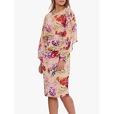 Gina Bacconi Marlana Floral Print Cape Midi Dress, Blush Rose/Green