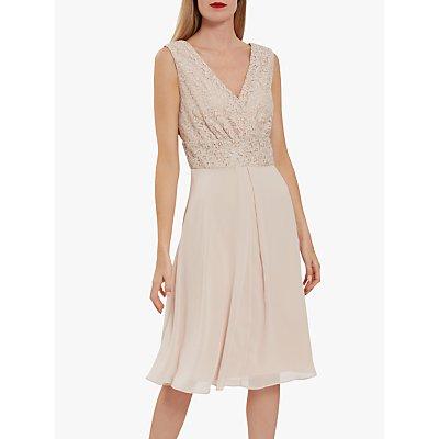 Gina Bacconi Gracie Metallic Floral Lace Sleeveless Dress, Antique Rose