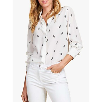 Pure Collection Dancing Zebra Print Washed Silk Relaxed Blouse, White