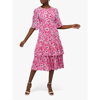 Monsoon Daisy Printed Dress, Pink