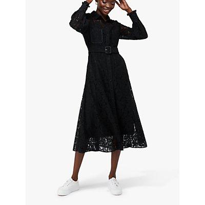 Monsoon Yvie Lace Shirt Dress, Black