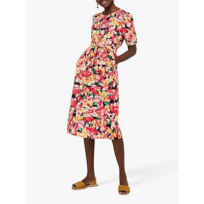 Monsoon Verna Linen Organic Cotton Floral Midi Dress, Navy/Pink