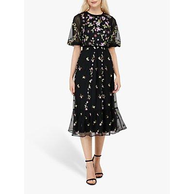 Monsoon Emma Floral Print Midi Dress, Black