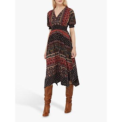 Monsoon Melinda Jersey Abstract Midi Dress, Multi