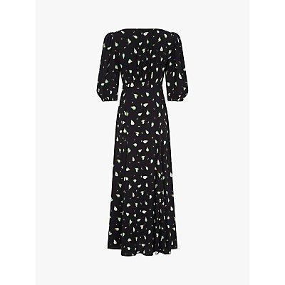 Ghost Alice Pear Print Midi Dress, Black/Multi