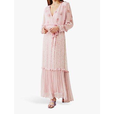Ghost Avery Wrap Floral Dress, Pink Aurelia