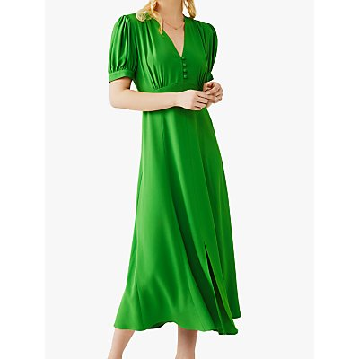 Ghost Margo Satin Back Crepe Dress, Bright Green