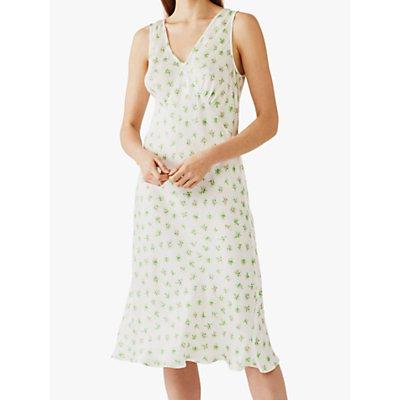 Ghost Floral Print Sleeveless Summer Dress, White/Green