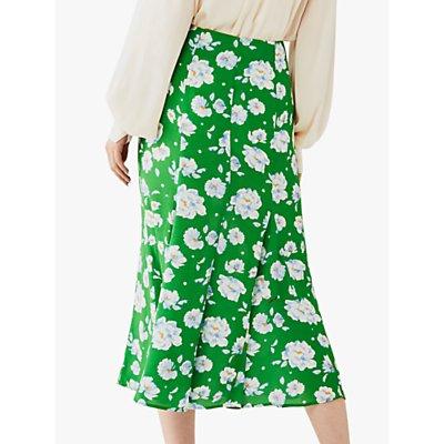 Ghost Simone Midi Skirt, Ariya Floral Green