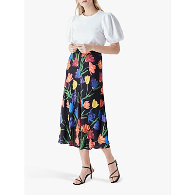 Finery Ayla Floral Print Midi Skirt, Multi
