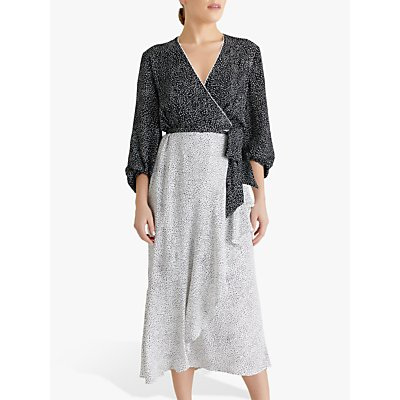 Fenn Wright Manson Petite Ninette Spotted Midi Dress, Black/Ivory