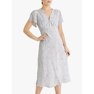 Fenn Wright Manson Petite Anette Spotted Midi Dress, Ivory Black Spot