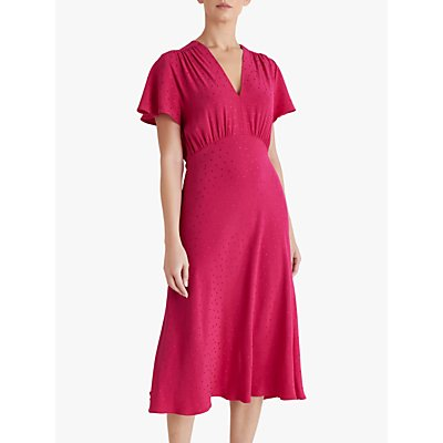 Fenn Wright Manson Yvette Spotted Midi Dress, Raspberry