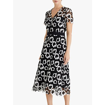 Fenn Wright Manson Adelphe Floral Print Midi Dress, Black/Ivory