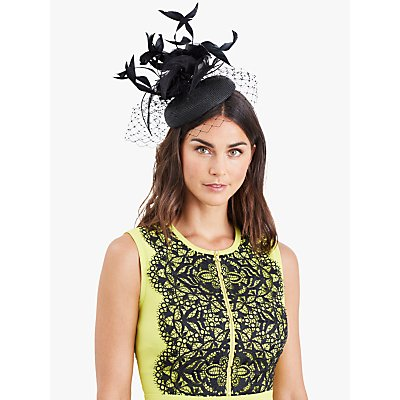 Damsel in a Dress Feather Pillbox Fascinator, Black