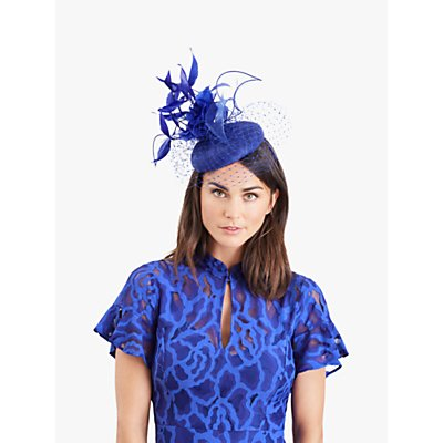 Damsel in a Dress Feather Pillbox Fascinator, Bright Blue
