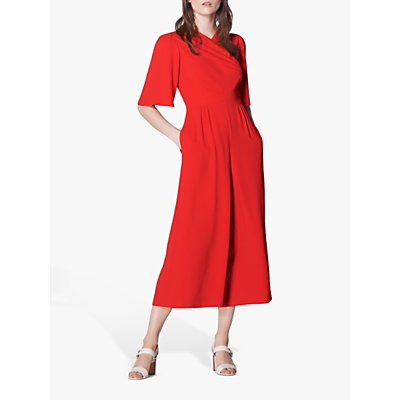 L.K.Bennett Clemence Wide Leg Cropped Wrap Jumpsuit, Bright Red