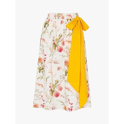 L.K. Bennett Rosey Floral Midi Skirt, White