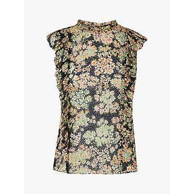 L.K.Bennett Cecilia Floral Print Ruffle Top, Black/Multi