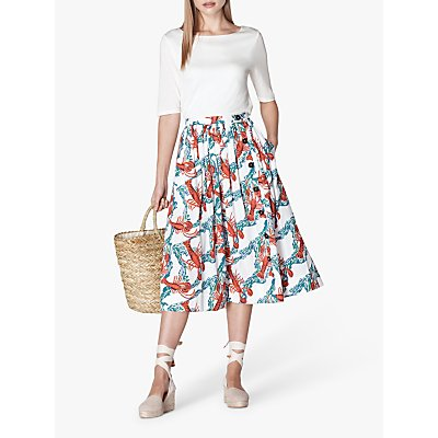 L.K. Bennett Agatha Lobster Print Midi Skirt, White/Multi