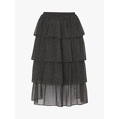 L.K. Bennett Betty Spot Tiered Skirt, Black/Cream