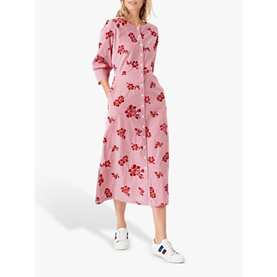 Brora Embroidered Floral Midi Dress, Poppy/White