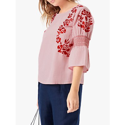 Brora Embroidered Striped Floral Blouse, Poppy/White