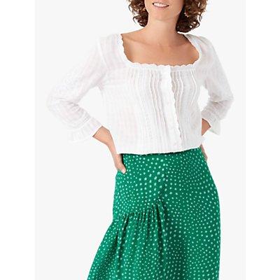 Brora Embellished Cotton Blouse, White