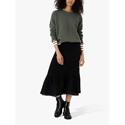Brora Gauzy Linen Midi Skirt, Summer Black