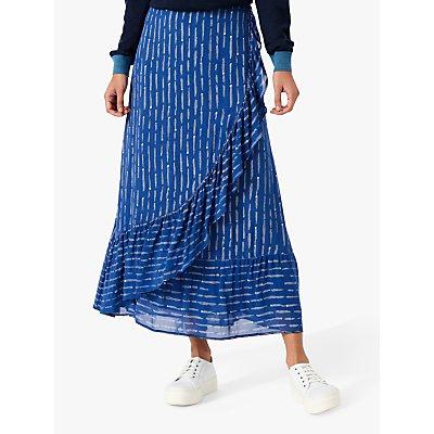 Brora Silk Ruffle Abstract Maxi Skirt, Mussel & White