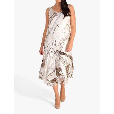 Chesca Satin Devoree Abstract Print Dress, Ivory/Mocha