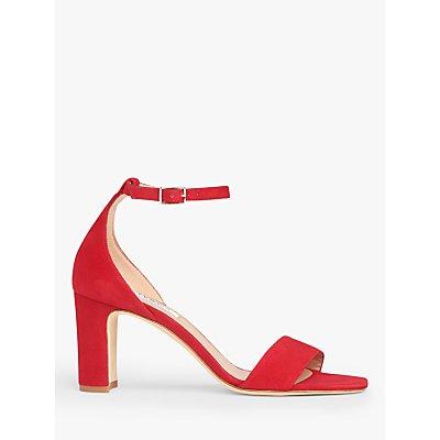 L.K.Bennett Nissi Heeled Suede Sandals, Roca Red