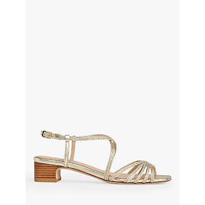 L.K.Bennett Newport Embroidered Strap Low Block Heel Sandals, Soft Gold