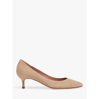 L.K.Bennett Audrey Leather Kitten Heel Court Shoes, Beige
