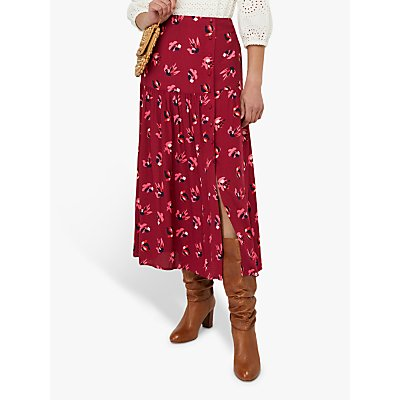 Monsoon Betty Tiered Floral Midi Skirt, Red