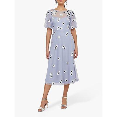 Monsoon Bryony Sequin Daisy Midi Dress, Lilac