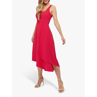 Monsoon Poppy Plain Midi Dress, Raspberry
