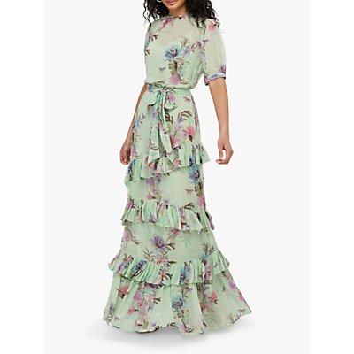 Monsoon Aesha Tiered Floral Maxi Dress, Green