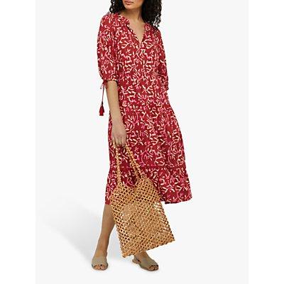 Monsoon Blake Woodblock Floral Midi Dress, Red