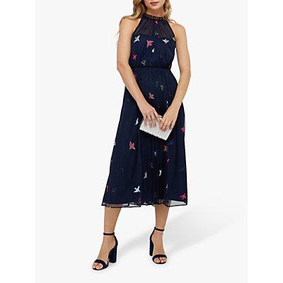 Monsoon Marigold Embroidered Midi Dress, Navy