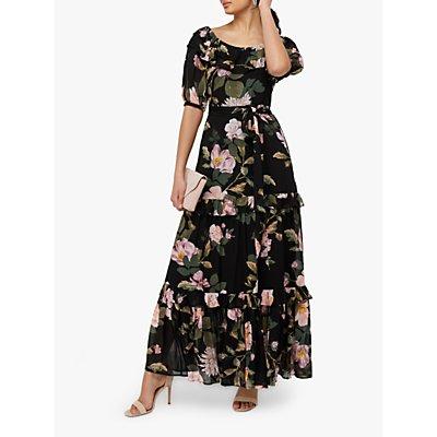 Monsoon Keya Floral Maxi Dress, Black