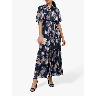 Monsoon Birdie Shirt Animal Print Maxi Dress, Navy