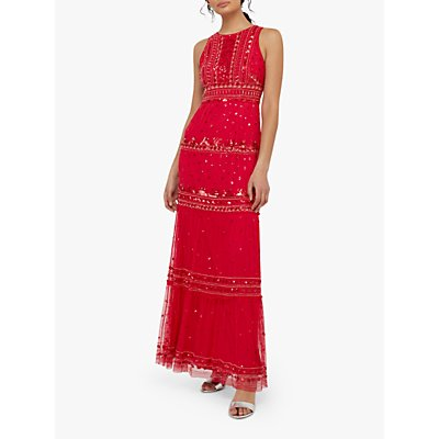 Monsoon Sai Embellished Maxi Dress, Red